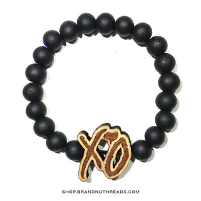 XO Wood Bracelet - Black - BrandNuThreads.com