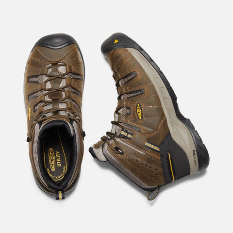 Keen Utility men's CSA Flint II Mid Boot (steel toe) cascade brown/golden rod 1023252