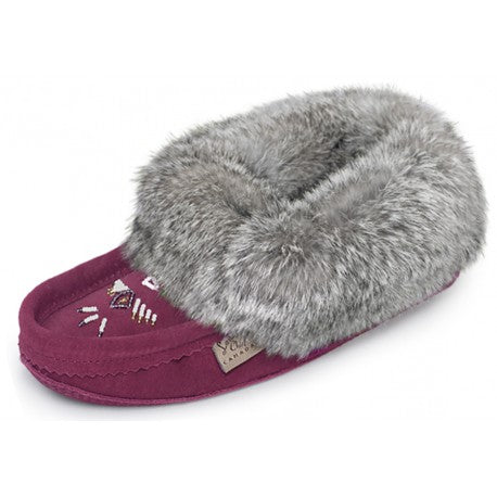 Laurentian Chief women's Slipper Rabbit Fur Trim, orlon, beaded, padded sole 6080-0408-41BUL04 600BUL burgundy suede
