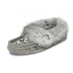 Laurentian Chief women's Slipper Rabbit Fur Trim, orlon, beaded, padded sole 6080-0408-41GRL 660L grey suede SIZE 4, 11