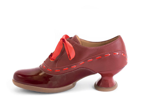 John Fluevog women's Enneagram Peace maker lace-up shoe with stitching burgundy