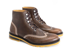 John Fluevog men's Guardian Angel Jonah brogued lace-up boot brown
