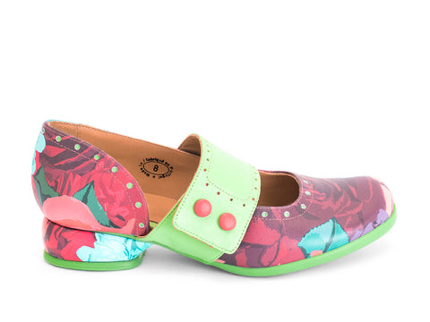 John Fluevog women's Fellowships Cleo (buttoned mary jane flat) floral pattern