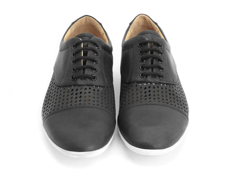 John Fluevog men's Flights SJO perforated derby sneaker black