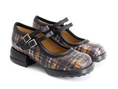 John Fluevog women's Unity Aimee solid mary jane plaid