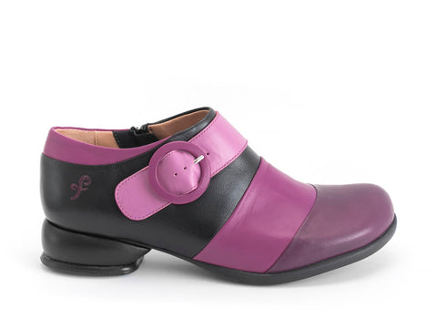 John Fluevog women's Fellowships Tina (contrast buckle shoe) pink/black