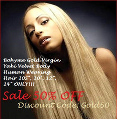 Bohyme Gold Virgin Yaki Velvet Body Human Weaving Hair 10S