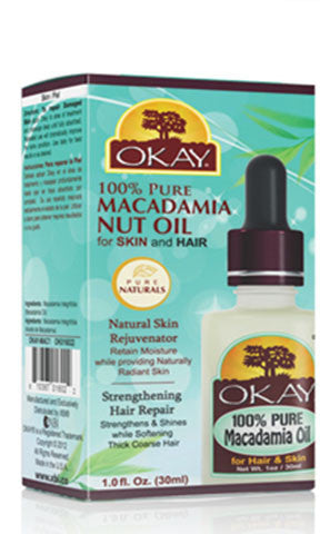 Okay Pure Macademia Nut Oil for Skin and Hair 30 ml