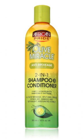 African Pride Olive Miracle Anti-Breakage Formula 2-IN-1 Shampoo Conditioner (12 fl oz.)