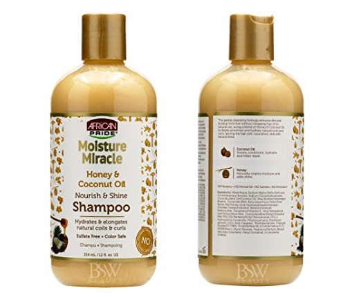 African Pride Moisture Miracle Honey & Coconut Oil Nourish & Shine Shampoo Hydrates & Elongates natural Coils & Curls Sulfate free color safe (12 oz)