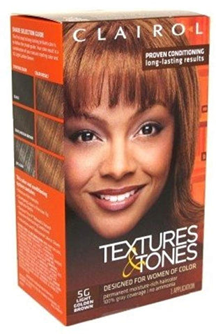 Clairol Professional Textures and Tones Permanent Hair Color Dye, 5G Light Golden Brown