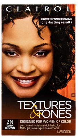 Clairol Professional Textures and Tones Permanent Hair Color Dye, 2N Dark Brown