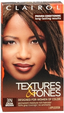 Clairol Professional Textures and Tones Permanent Hair Color Dye, 3N Cocoa Brown