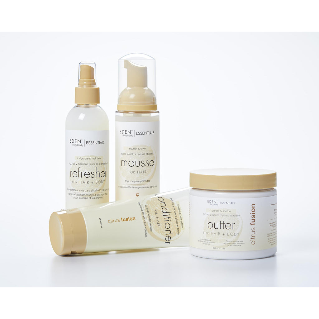 Eden Bodyworks Citrus Fusion Set Includes: Hair + Body butter 16oz, Conditoner 8 oz, Refresher Spray 8 oz, and Styling Mousse 8oz
