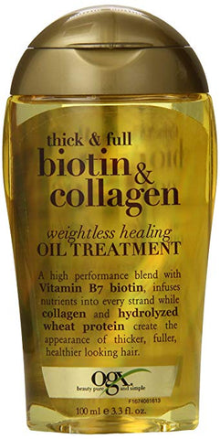 OGX Thick and Full Biotin and Collagen Weightless Healing Oil Treatment, 3.3 Ounce Bottle Sulfate-Free Surfactants