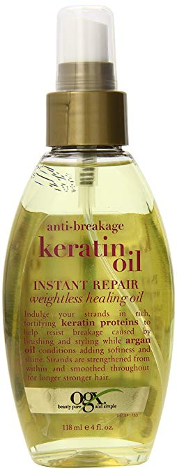 OGX Weightless Healing Oil, Anti-Breakage Keratin Oil Instant Repair, 4 oz, Blended with Keratin Proteins and Argan Oil, All Hair Types