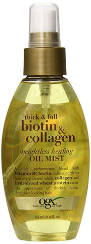 OGX Weightless Healing Oil Mist, Thick and Full Biotin and Collagen, 4 Ounce