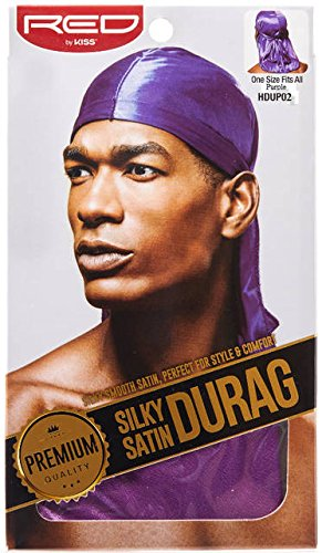 RED BY KISS Premium Silky Satin DURAG Men's Cap Doo RAG (Purple)