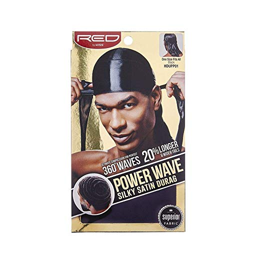 Red By Kiss Power Wave Silky Satin Durag Extra Long Tails, Black