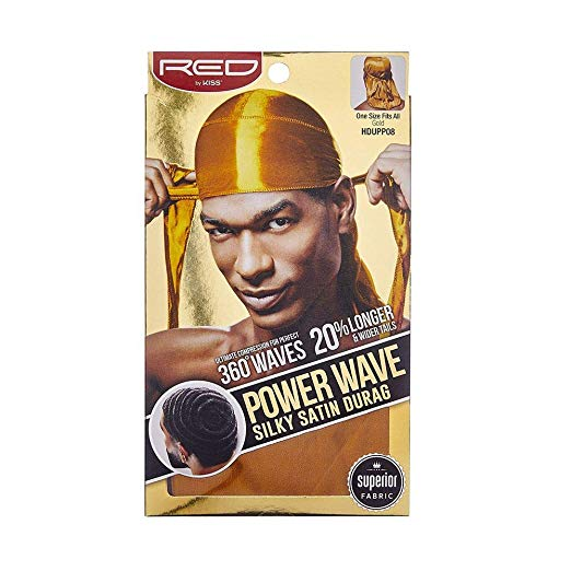 Red By Kiss Power Wave Silky Satin Durag Extra Long Tails, Gold