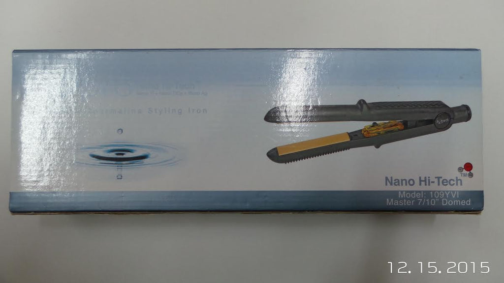 "H2pro Nano Hi-Tech Ceramic Tourmaline Styling Flat Iron Yvi Series (Model#109YVI) Master 7/10"" Domed"