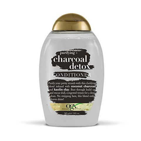 OGX Purifying + Charcoal Detox Conditioner for Buildup Removal and Light Nourishment, No Sulfates, 13 oz