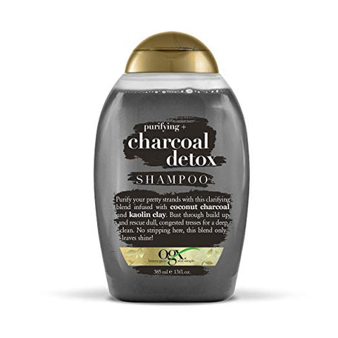 OGX Purifying + Charcoal Detox Shampoo for Buildup Removal and Light Nourishment, No Sulfates, 13 oz