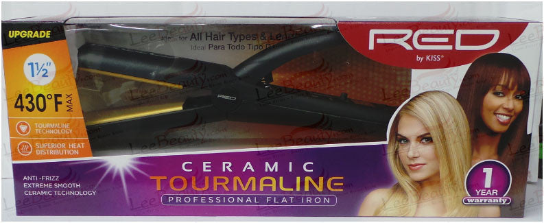 Red Ceramic Tourmaline Flat Iron 1-1/2 Inches