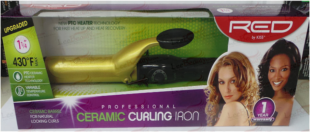 Red Ceramic Curling Iron 1 1/4 Inches