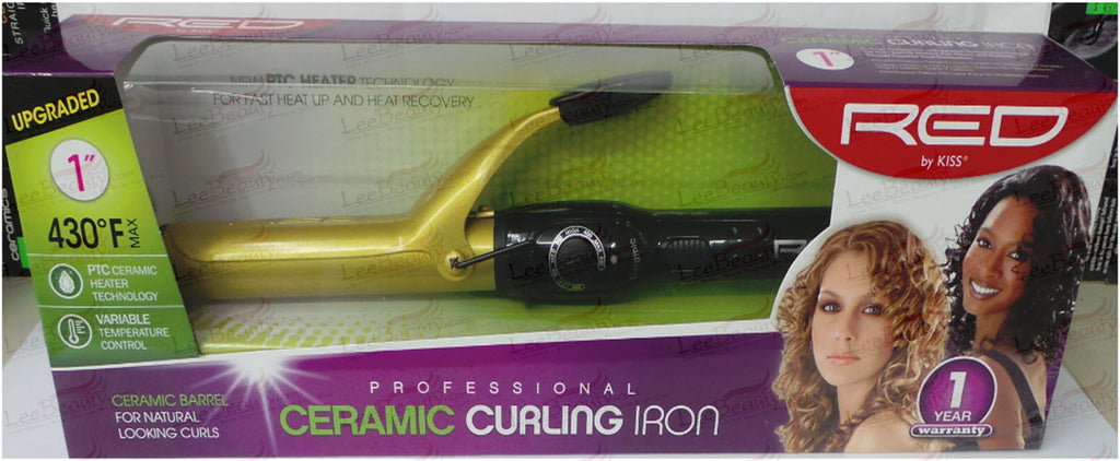 Red Ceramic Curling Iron 1 Inch