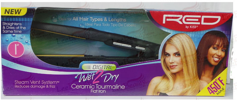 Red Ceramic Tourmaline Flat Iron Digital Wet to Dry 1 Inch