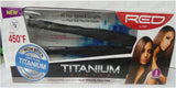 Red Pro Titanium Flat Iron Silicon Protection 1 1/2 Inch