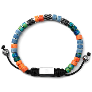 Blue Green & Orange with Silver - Up to 7 1/2 Inch