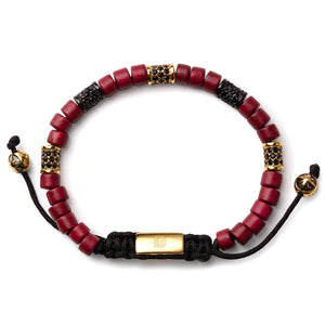Dark Red with Gold - Up to 7 1/2 Inch