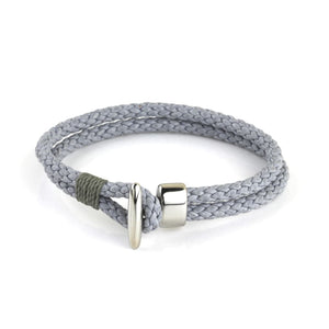 Leather Braided Hook - Gray / 6 1/2
