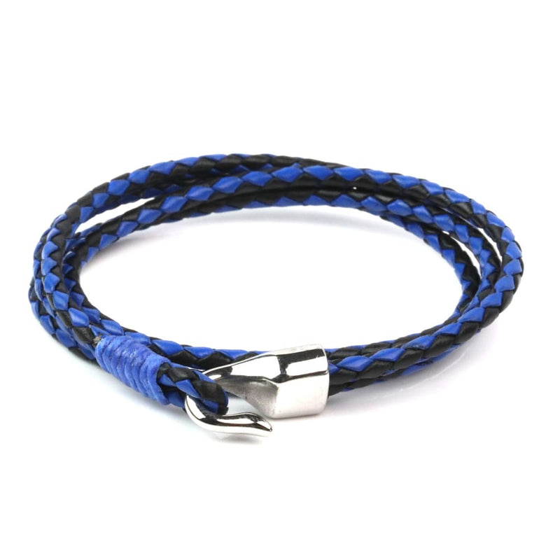 Leather Double Braided Hook - Black & Blue / 6 1/2