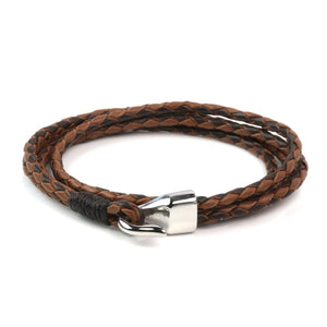 Leather Double Braided Hook - Brown & Chocolate / 6 1/2