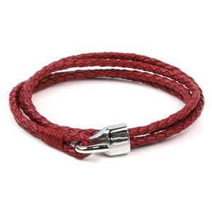 Leather Double Braided Hook - Dark Red / 6 1/2