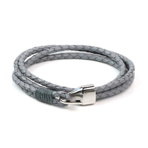 Leather Double Braided Hook - Gray / 6 1/2