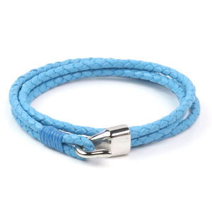 Leather Double Braided Hook - Light Blue / 6 1/2