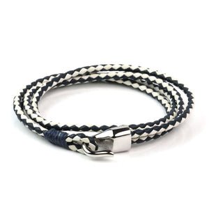 Leather Double Braided Hook - Navy & White / 6 1/2