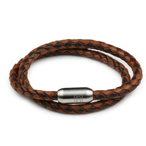 Leather Double Wrap - Brown & Chocolate / 6 1/2