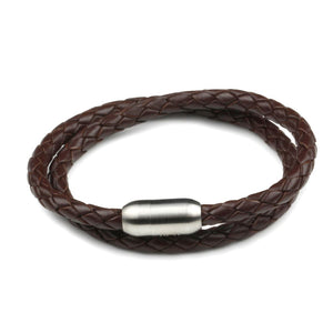 Leather Double Wrap - Chocolate / 6 1/2