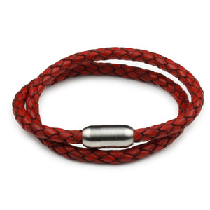 Leather Double Wrap - Red / 6 1/2