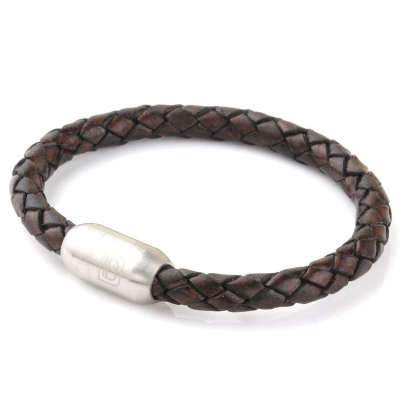 Copy of Leather Single Wrap - Brown and Chocolate / Silver