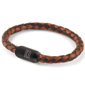 Copy of Leather Single Wrap - Brown and Chocolate / Matte Black