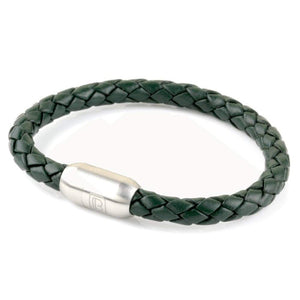 Copy of Leather Single Wrap - Green / Silver
