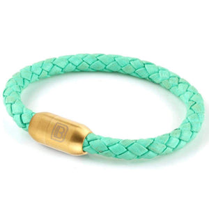 Copy of Leather Single Wrap - Mint / Gold