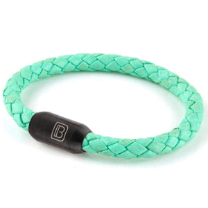 Copy of Leather Single Wrap - Mint / Matte Black