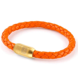 Copy of Leather Single Wrap - Orange / Gold